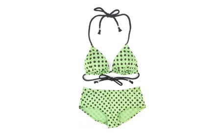 NWT 2 PC Women's Polka Dotted Hipster Bikini Set Lime Green Multi 2f93243d-47e2-4708-882c-68030f52d5c4