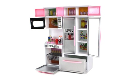 39 modern kitchen 15 39 battery operated toy kitchen play set for Kitchen set groupon