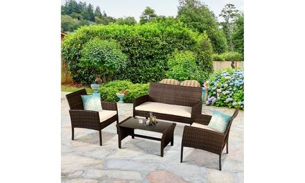 Costway 4 Piece Patio Furniture Set-Garden Sofa Cushioned Seat Rattan