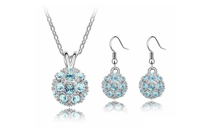 KATGI Fashion 18K White Gold Plated Sparkling Disco Ball with Austrian Crystal Necklace and Earrings Set