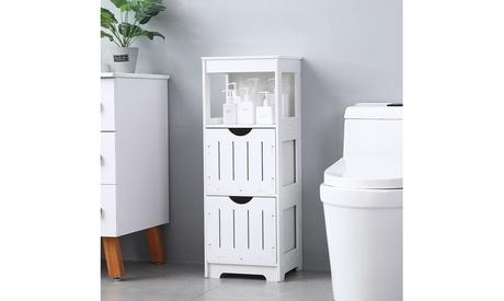 PVC Bathroom Floor Cabinet Storage Organizer Set with Drawer White