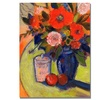 Shelia Golden Red Flowers with Jar Canvas Print