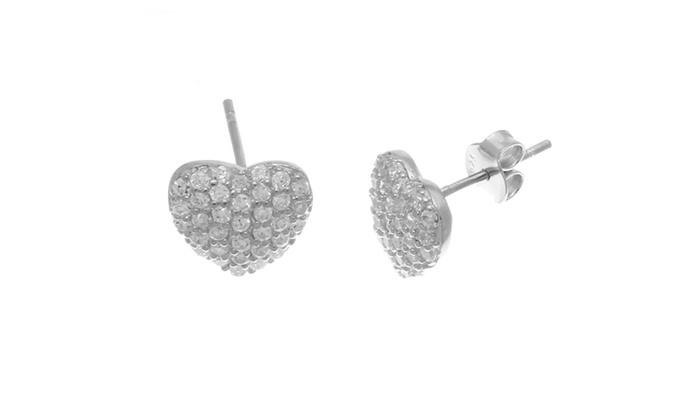 swarovski elements stud earring in 18k white gold