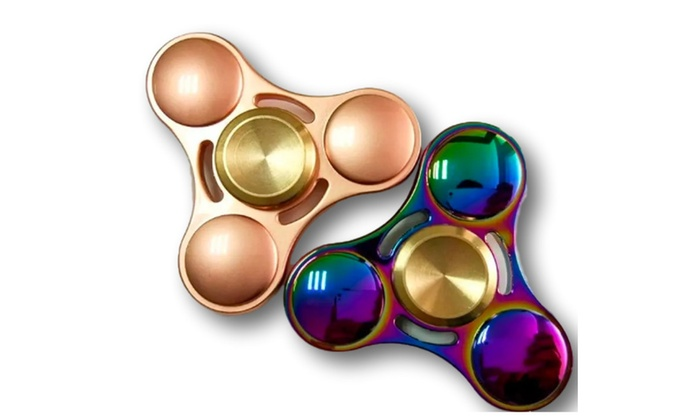 Hand Spinner Fidget Toy In Rainbow And Gold