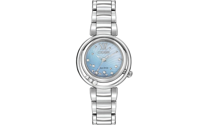 Citizen Women s Eco-Drive Sunrise Mother Of Pearl Diamond Watch ... a9408900c9
