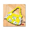 Roderick Stevens Bow Purse White on Yellow Canvas Print