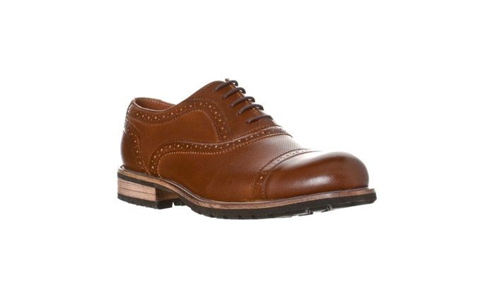 Steve Madden Men's 'Partizen' Leather Cap-toe Oxford, Cognac