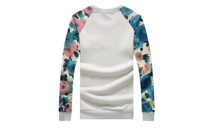 Men's  Fashion Floral Printed Round Neck Pullover Sweatshirt