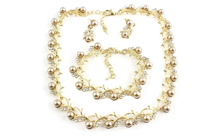 Classic Imitation Pearl Gold-Color Necklace jewelry Set for Women 217cfb26-68a1-40d4-8b52-81cfe53dbacf