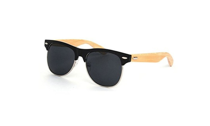 Full Mirrored Sunglasses with Half Frame Bamboo Legs Wooden Sunglasses
