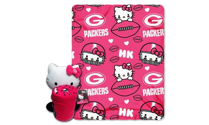 027 Packers Hello Kitty  with Throw