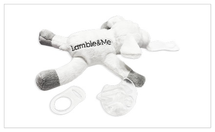 Plush Lamb Pacifier Holder *NEW-SNAP-CLOSURE WITH MAM/NUK ADAPTER INCLUDED* Use with Pacifier or Teethers.