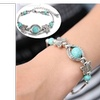 Turquoise Beads Silver Plated Butterfly Bracelet Handmade