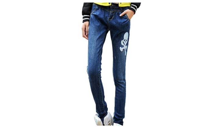 Women's Fashion Loose Embroidered Mid Waist Denim Baggy Jeans