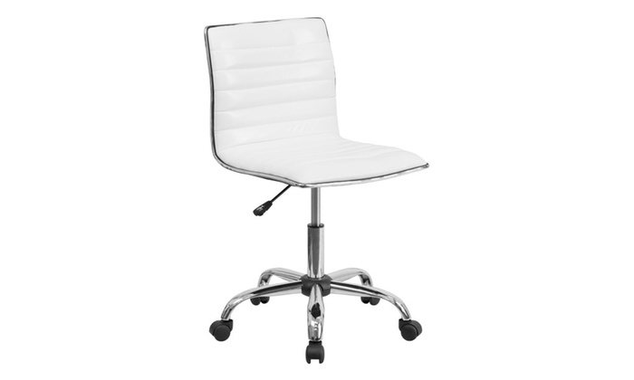 Flash Furniture Low Back Designer Armless White Ribbed Swivel Chair