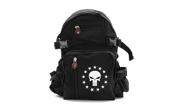 Vintage Punisher Skull and 13 Stars Sport Canvas Backpack Bag