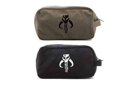 Star Wars Mandalorian Skull Boba Fett Canvas Kit Travel Toiletry Bag