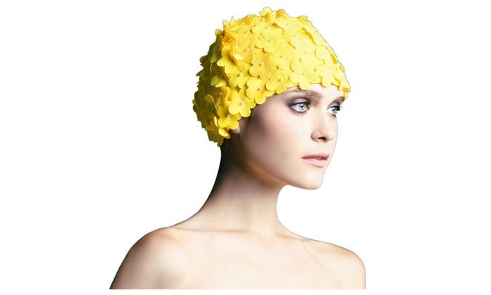 Women Flower Beaded Bathing Swim Cap