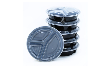 10 Piece 3 Compartment Reusable Food Storage Containers Meal Prep photo