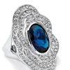 Oval-Cut Blue Crystal Vintage-Inspired Cocktail Ring Platinum-Plated