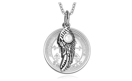 Archangel Uriel Sigil Amulet Magic Powers Angel Wing Charm Pendant Necklace