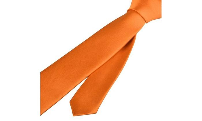 Zodaca OrangeCasual Slim Plain Men's Solid Neck wedding Tie Necktie