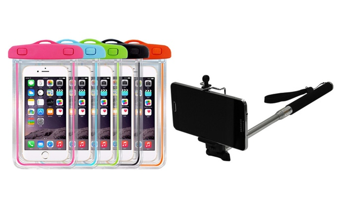 big sale e82e8 85166 Waterproof Pouch Bag & Monopod Selfie Stick For Smartphones | Groupon