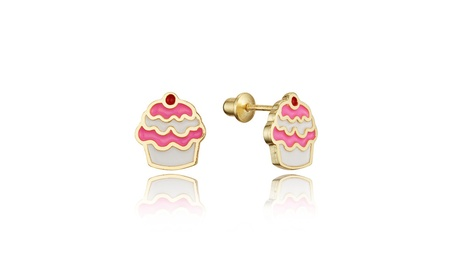 14k Gold Plated Brass Enamel Cup Cake Children Screwback Girl Earrings c9dc58e5-69aa-43ed-9359-fb05473c1c72