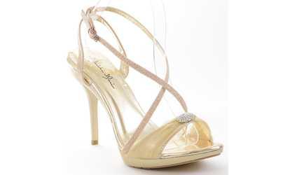 49f27c907f892a Shop Groupon Chiffon Glitter Rhinestone Open Toe Stiletto Sandal Women s
