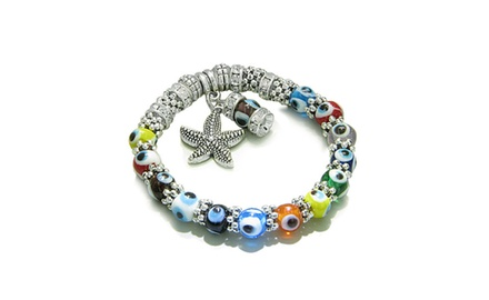 Amulet Evil Eye Protection Sea Star and Cute Dangling Charm with Multicolor Eye Beads and Crystals Elements Beads