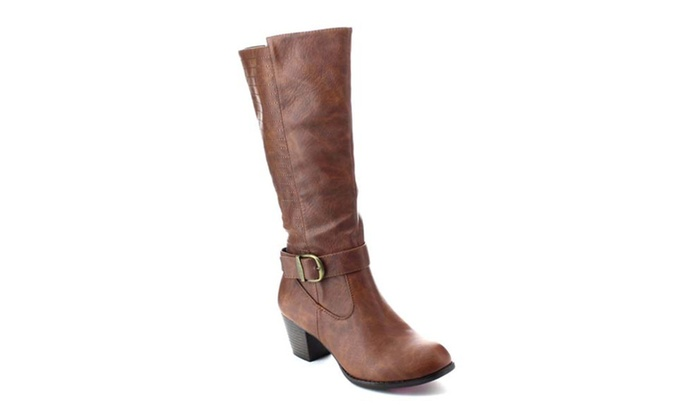 DE BLOSSOM COLLECTION KIOSK-22 Women's Stacked Heel Knee High Boots