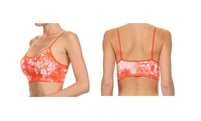Orange Tie Dye Bandeau Sports Bra