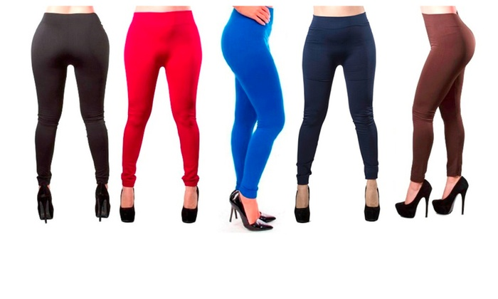 Super Comfy Fleece Lined Leggings Free Size – 5 Pack Assorted Colors