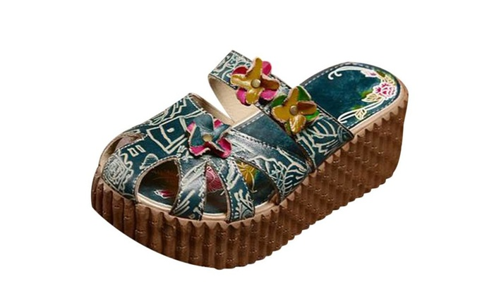 Women's Floral Swedish Wooden Clogs in Blue