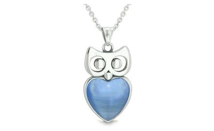 Amulet Owl Cute Heart Lucky Charm Positive Energy Pendant Necklace