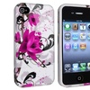 Insten TPU Rubber Skin Case For Apple iPhone 4 4S, White Purple Flower