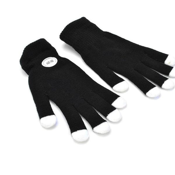 2 Pairs LED Rave Light Glow Finger Lighting Flashing Gloves White
