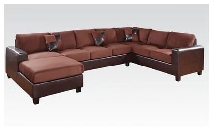 Traun reversible chocolate microfiber upholstered for Sectional sofa groupon
