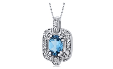 Swiss Blue Topaz Pendant Necklace Sterling Silver Oval 1 Carat SP10028