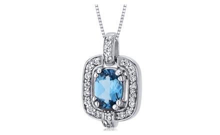 Swiss Blue Topaz Pendant Necklace Sterling Silver Oval 1 Carat SP10028
