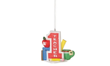 "3"" Grade or High School #1 Teacher with Supplies Christmas Ornament"