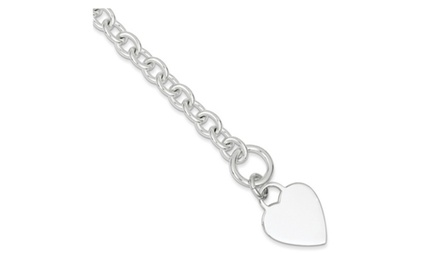 IceCarats Designer Jewelry Sterling Silver Engraveable Heart Disc on Fancy Link Toggle Bracelet