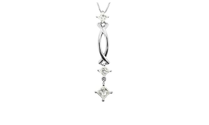 14k white gold princess cut diamond pendant necklace 12 carat 14k white gold princess cut diamond pendant necklace 12 carat aloadofball Gallery