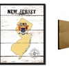 "New Jersey State Map Accent Shabby Chic Flag 7""x9"" Framed Canvas Print"