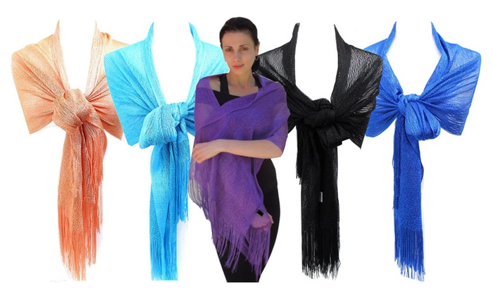 Sheer Knit Fringed Evening Wrap Shawl for Prom Wedding Formal