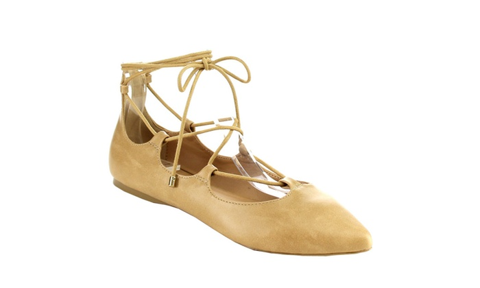 Beston IA12 Lace Up Ankle Tie Cutout Comfort Flats