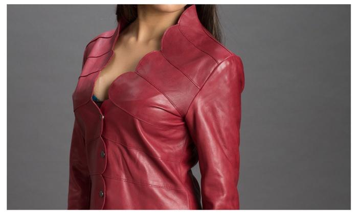 Ladies High Fashion Genuine Leather Jacket Style Palio Color Wine