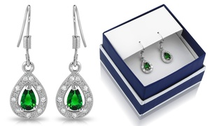 Created Emerald Pear Shape Hanging Earrings By MUIBLU Gems