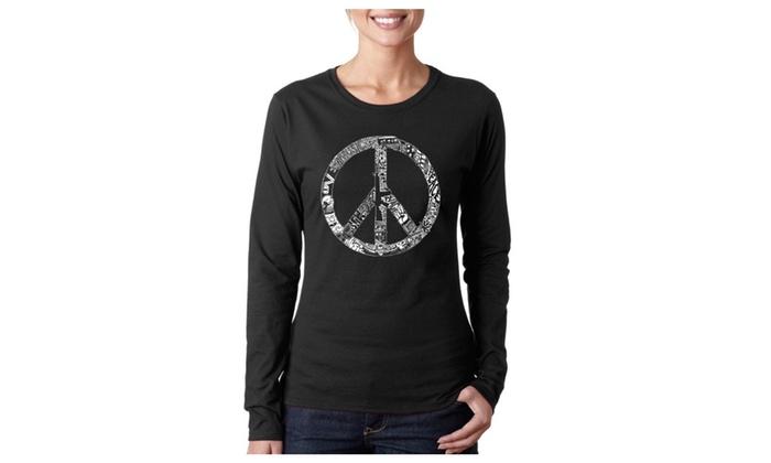 Women's Long Sleeve T-Shirt - PEACE, LOVE, & MUSIC