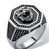 Men's Antiqued Stainless Steel Hexagon Lion's Head Octagon Ring